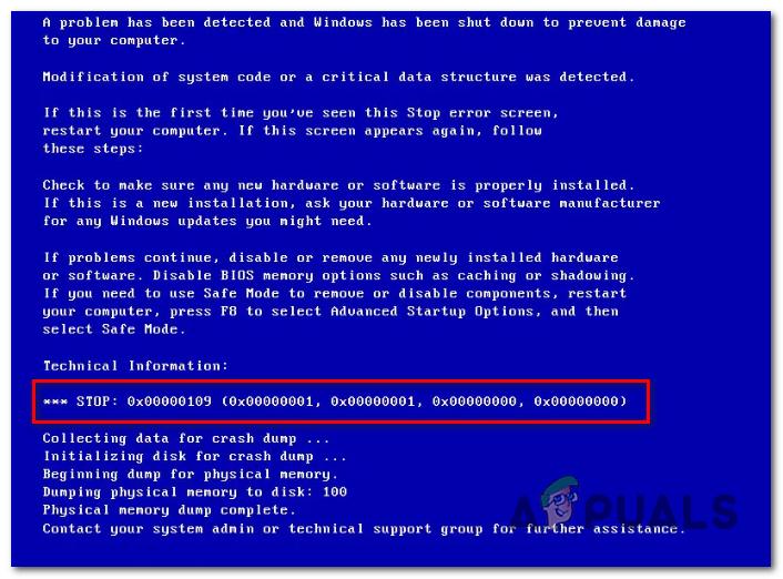 Разрешить синий экран Ошибка 0x00000109