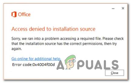 Разрешить доступ запрещен к источнику установки Office Ошибка