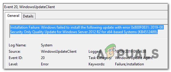 Ошибка 0x800f0831 Ошибка установки, Windows не удалось установить следующие обновления
