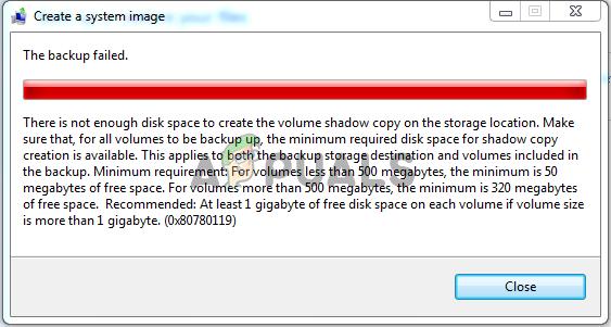 Исправлена ошибка дискового пространства 0x80780119 при создании образа системы