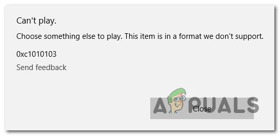 Приложение Windows Video не может воспроизвести ошибку 0xc1010103