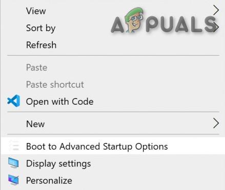 Как добавить Boot в Advanced Startup Options в контекстное меню?