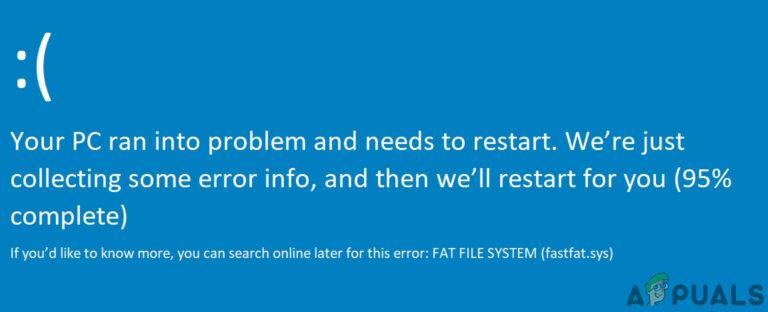 Исправить FAT FILE SYSTEM 'fastfat.sys' Ошибка Windows 10