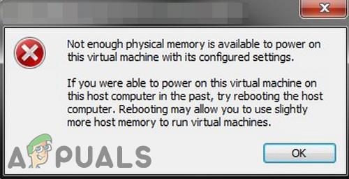 Недостаточно физической ошибки памяти в VMware