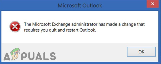 Исправлено: администратор Exchange внес изменение, которое требует от вас выйти и перезапустить Outlook