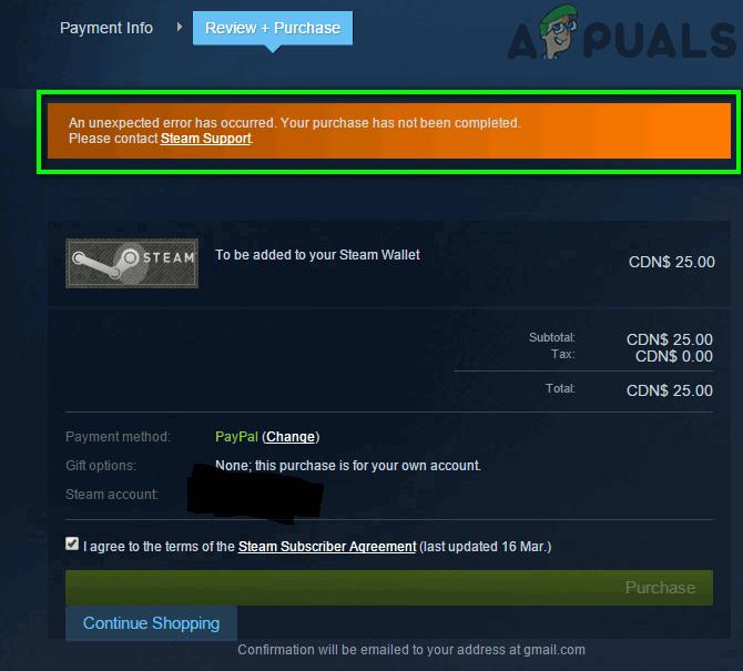 Исправлено: сообщение «Неожиданная ошибка произошла» при совершении покупки в магазине Steam