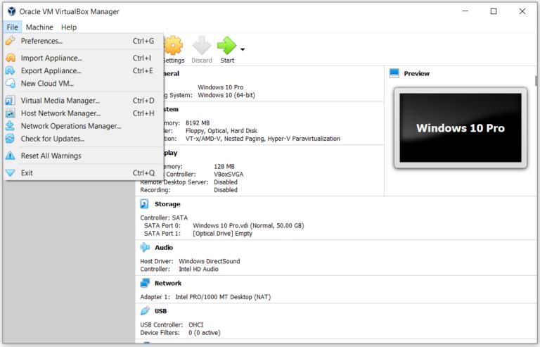 Понимание Oracle VM VirtualBox (Меню)
