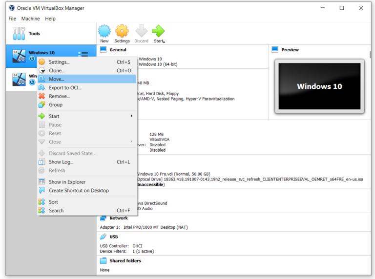 Переместить папку VirtualBox с виртуальными машинами на новое место