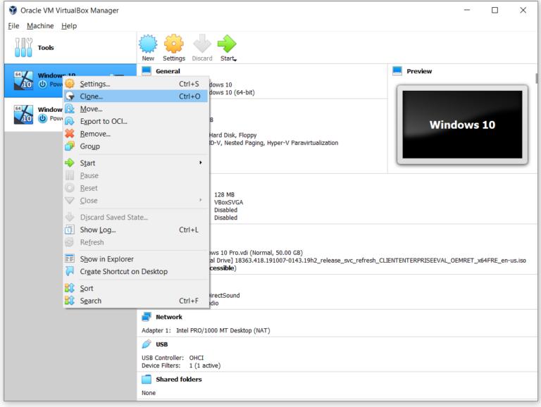 Клонировать виртуальную машину в Oracle VM VirtualBox