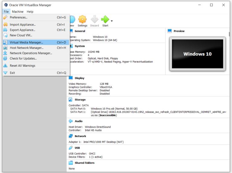 Использование Virtual Media Manager в Oracle VM VirtualBox