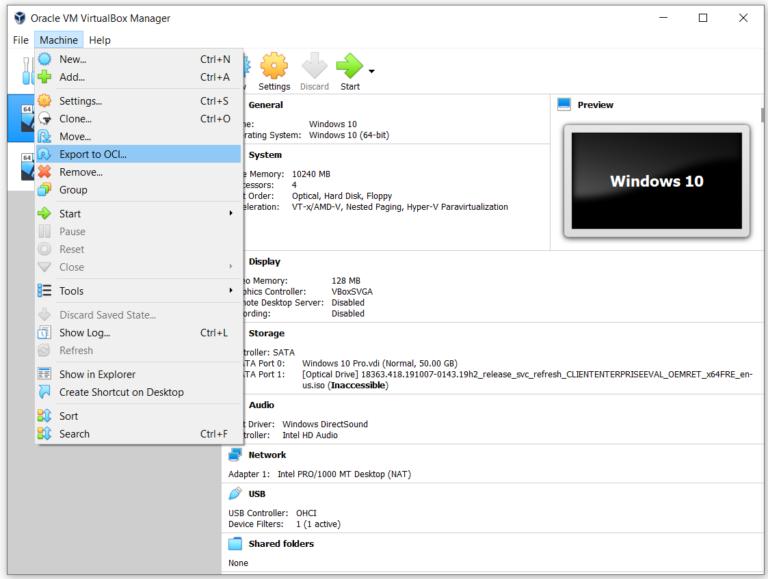 Экспорт виртуальной машины в файл OVA в Oracle VM VirtualBox
