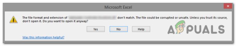 Исправлена ошибка «Формат файла и расширение не совпадают» в Excel