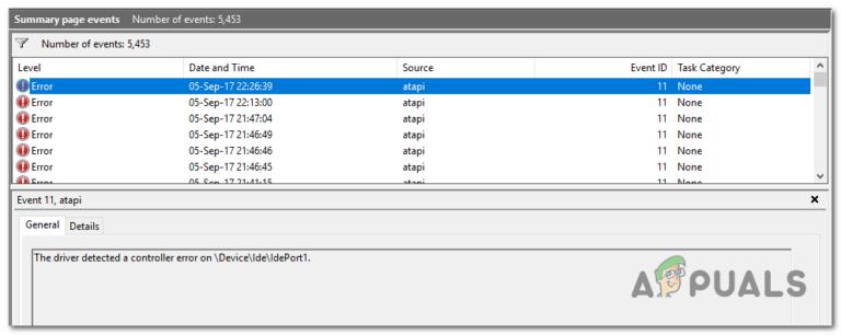 Драйвер обнаружил ошибку контроллера на DeviceIdeIdePort1