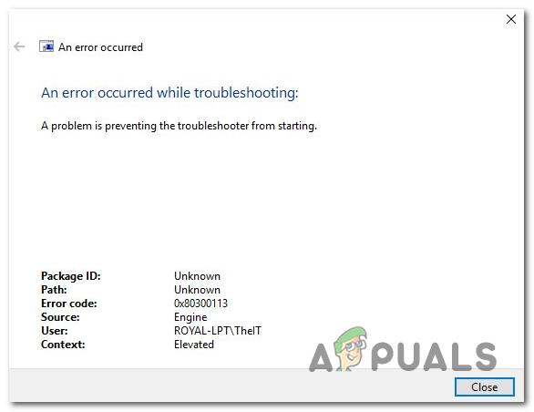 Ошибка устранения неполадок в Интернете 0x80300113 — Appuals.com