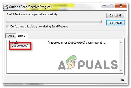 Как исправить неизвестную ошибку Outlook 0x80040600 в Windows