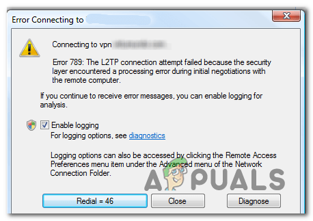 Ошибка VPN 789 в Windows 7/10