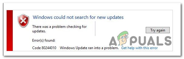 Исправлено: Windows Update Error Code 80244010