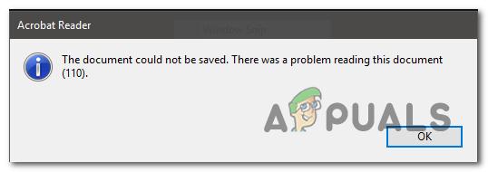 Adobe Reader Ошибка 110 «Не удалось сохранить документ»