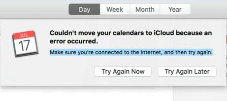 Не удалось переместить ваши календари в iCloud из-за ошибки (исправить)