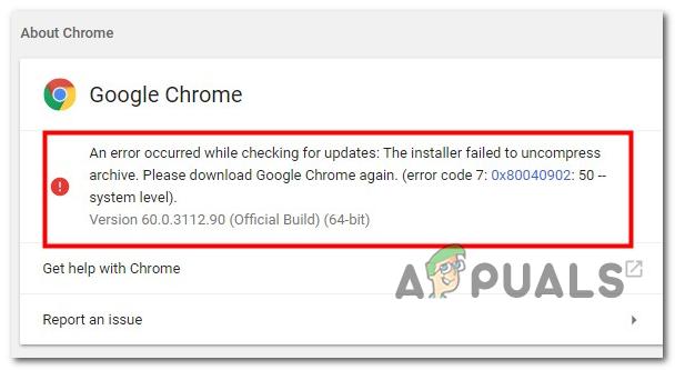 Как исправить ошибку обновления Google Chrome 0x80040902