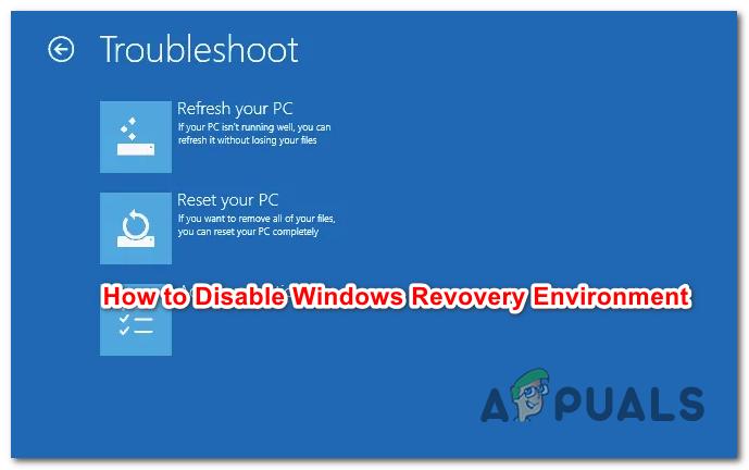 Как отключить / включить среду восстановления Windows в Windows 10?