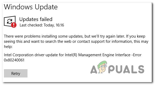 Ошибка 0x80240061 при установке драйвера интерфейса Intel Management Engine