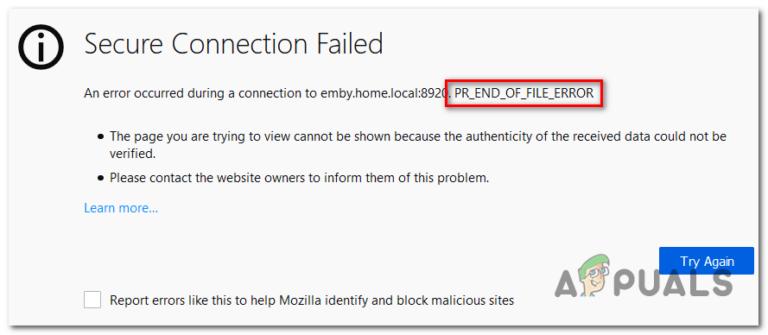 Как исправить PR_END_OF_FILE_ERROR «сбой безопасного соединения» в Firefox