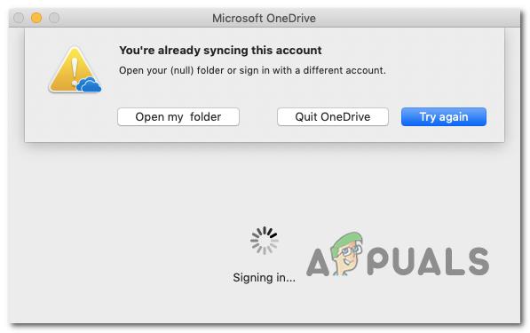 Your'e уже синхронизирует эту учетную запись в OneDrive для Mac