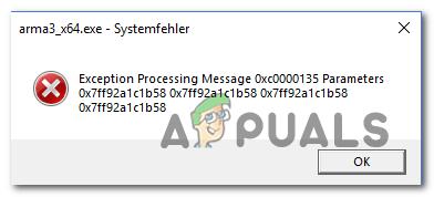 Разрешение обработки сообщения об исключении 0xc0000135
