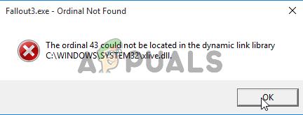 Ошибка Fallout: Ordinal 43 не может быть найден или не найден (исправить)