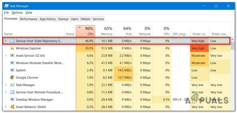Высокая загрузка ЦП службой репозитория состояний в Windows 10