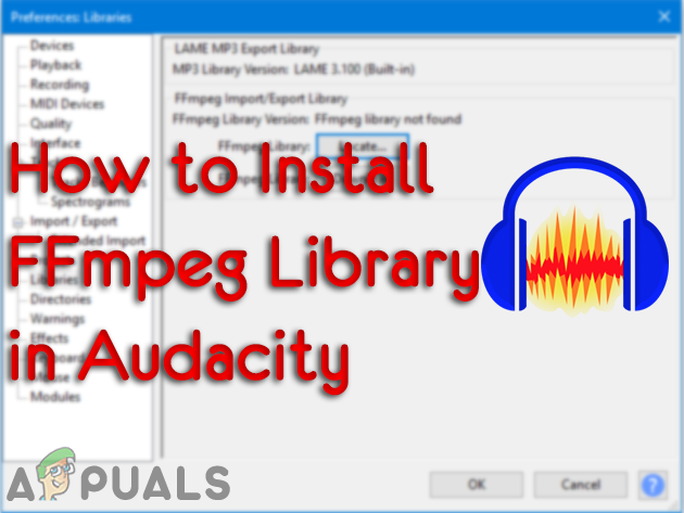 Установка библиотеки FFmpeg в Audacity