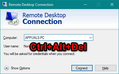 Как отправить Ctrl + Alt + Del через удаленный рабочий стол?