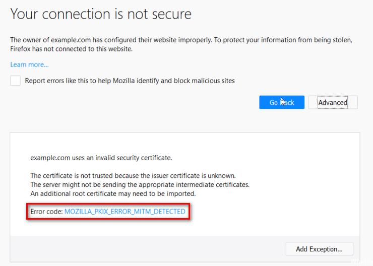 Исправлено: MOZILLA_PKIX_ERROR_MITM_DETECTED Ошибка в Firefox