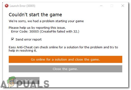 Ошибка 30005: не удалось создать файл с 32 «не удалось запустить игру»