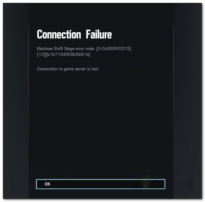 Исправлено: ошибка подключения Rainbow Six Siege 2-0x0000c015