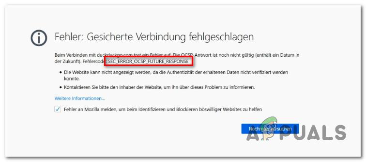 Исправлено: ошибка Firefox 'SEC_ERROR_OCSP_FUTURE_RESPONSE' – Appuals.com