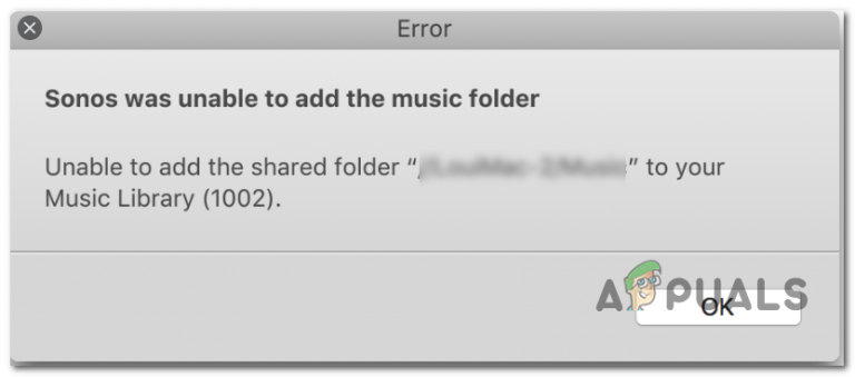 Исправлено: Sonos не смог добавить музыкальную папку
