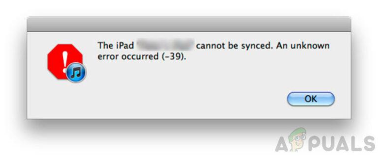 Не удается синхронизировать iPhone или iPad из-за неизвестной ошибки -39