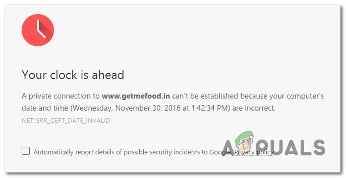 Google Chrome: ваши часы впереди / позади