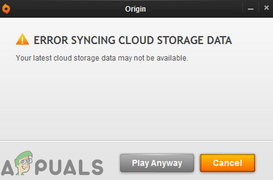 Как исправить ошибку синхронизации данных облачного хранилища в Origin?