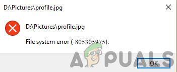 Исправлено: Ошибка файловой системы (-805305975)