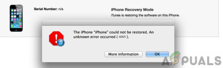 Как исправить ошибку восстановления iPhone 4005?
