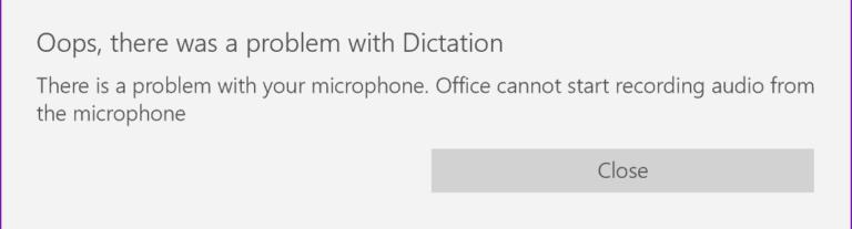 Исправлено: Ой, была проблема с диктовкой в Office