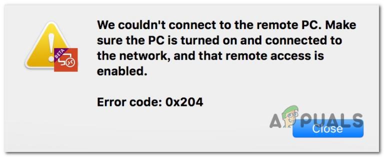 Как исправить код ошибки удаленного рабочего стола 0x204 на Mac?
