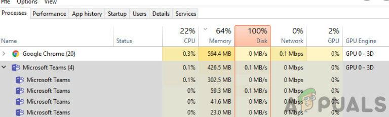 Исправлено: высокая загрузка ЦП и батареи Microsoft Teams