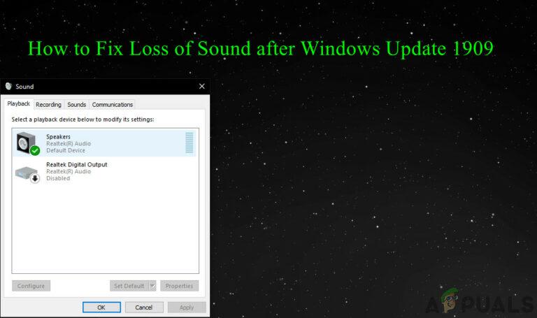 Исправлено: потеря звука после обновления Windows 10 1909