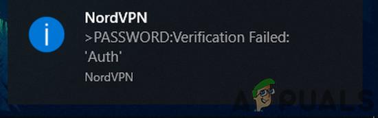 Исправлено: Ошибка проверки пароля NordVPN 'Auth'