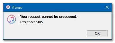 [FIX] Ошибка iTunes 5105 в Windows (ваш запрос не может быть обработан)