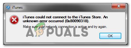 Код ошибки 0x80090318 при доступе к веб-сайту iTunes Store